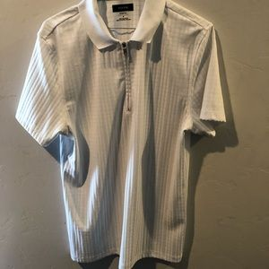 Men's white Alfani collard t shirt sz M